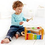 Hape Pound & Tap Bench with Slide Out Xylophone by Award Winning Durable Wooden Musical Pounding Toy for Toddlers, Multifunctional and Bright Colours