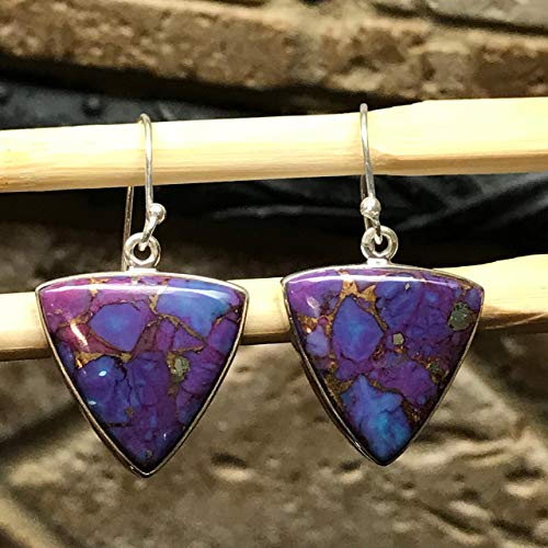 (Gorgeous Purple Copper Mohave Turquoise 925 Solid Sterling Silver Trillion Dangle Earrings 30mm Long)