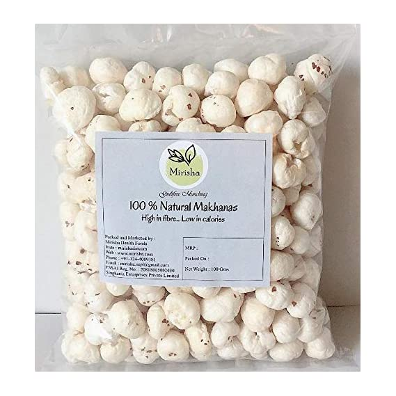 Mirisha Natural Dry Fruits | Regular Lotus Seeds | Nut Puffed | Fox Nuts | Makhana 100 gm