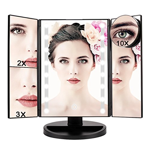 Lighted Vanity Makeup Mirror – 1X/2X/3X/10X Magnification, 16Led Lights with Touch Screen and 180-degree Adjustable Stand, Battery Operated and USB Charging
