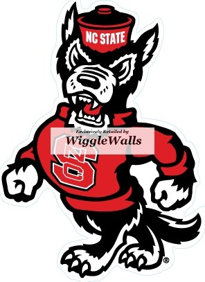 5 Inch Mr. Wuf North Carolina NC State University Wolfpack NCSU Wolf Pack Logo Removable Wall Decal Sticker Art NCAA Home Room Decor 4 by 5 Inches