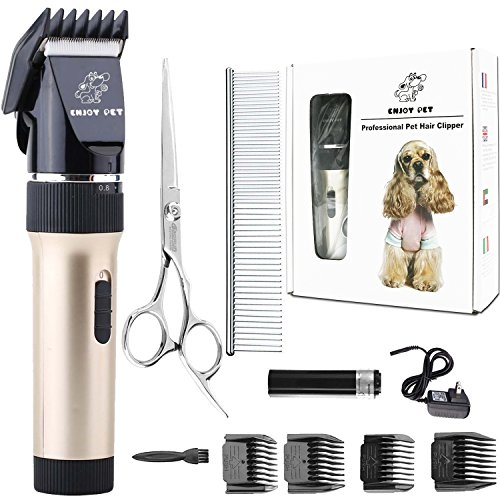 Dog Clippers Cat Shaver, Professional Hair Grooming Clippers Detachable Blades Cordless Rechargeable, Pet Clipper Kit with Scissor, Combs, Guards for Dog Cat, Quiet Animal Clippers and Trimmers