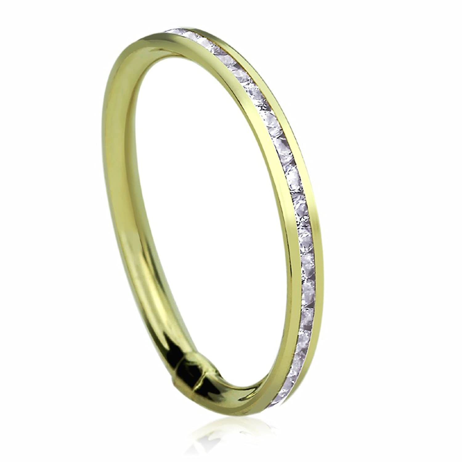 14K Yellow Gold Wedding Band 2mm White CZ Channel Set Ring