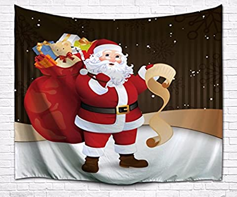 A.Monamour Merry Christmas Holiday Themed Pine Tree Santa Claus Giving Presents Red Backgrounds Fabric Tapestry Wall Hanging Decors for Kids Living Room - Christmas Tree Tapestry