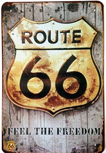 ERLOOD Route Us Road 66 Retro Vintage Tin Sign 12X8 (Gray)