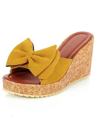 ShangYi Womens Shoes Wedge Heel Open Toe Sandals Office & Career/Dress Black/Blue/Yellow/Red Blue
