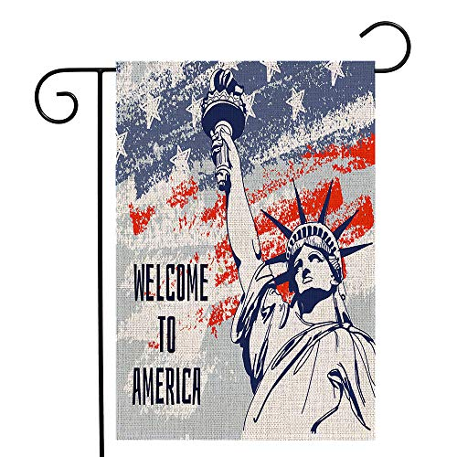 Titiyogo Garden Flag Welcome to America Statue of Liberty Yard Flag Vertical Double Sided 12.5 x 18 Inch Spring Summer Welcome Burlap Farmhouse Yard Outdoor Decor