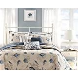 6 Piece Steel Blue Beige Animal Print Coverlet King Set, Cream Light Blue Coastal Star Fish Coral Motif Seashells Nautical Style, Reversible Adult Bedding Master Bedroom, Microfiber Polyester