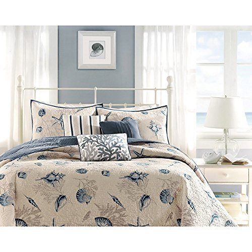 6 Piece Steel Blue Beige Animal Print Coverlet Full Queen Set, Cream Light Blue Coastal Star Fish Coral Motif Seashells Nautical Style, Reversible Adult Bedding Master Bedroom, Microfiber Polyester by B62830000 570B6783000001 EN