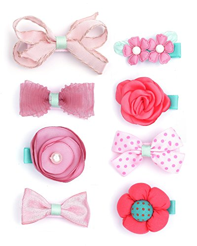 (Belle Beau Baby Girls Hair Bows, Hair Clips, Ribbon Lined Alligator Hair Clips (X))