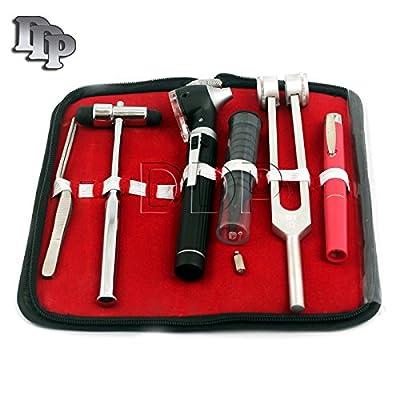 Ddp Led Fiber Optic Otoscope Tuning Fork C128 Reflex Hammer Diagnostic Ent Set-black