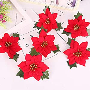Shxstore 10 pcs 6 Inches Red Artificial Poinsettia Wedding Christmas Flowers for Crafts and Ornaments 5
