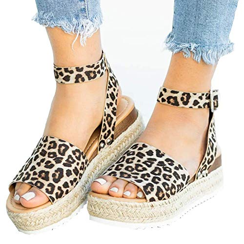 Xiakolaka Womens Platform Sandals Open Toe Espadrille Ankle Strap Buckle Shoes Leopard 42