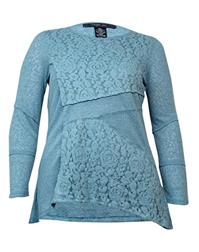 Style & Co. Women's Ribbed Lace Knit Sweater (L, Azure Mist) - Lace Ribbed Sweater