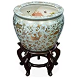 China Furniture Online Porcelain Fishbowl Planter, 12 inch Koi Design