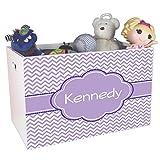 Personalized Lavender Chevron w Purple Childrens Nursery White Open Toy Box