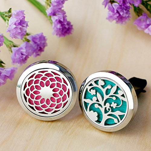 2PCS-RoyAroma-30mm-Car-Aromatherapy-Essential-Oil-Diffuser-Stainless-Steel-Locket-Air-Freshener-with-Vent-Clip-12-Felt-Pads