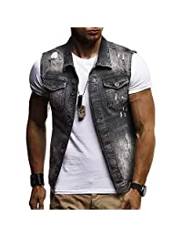 Men Denim Jacket,Vanvler Male Destroyed Waistcoat Blouse Autumn Winter Sleeveless Vest Top Fashion