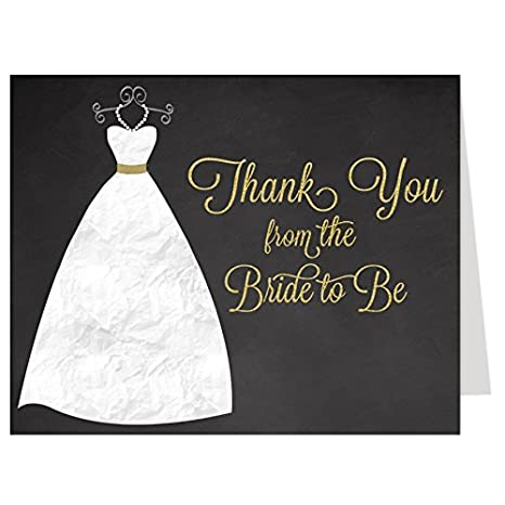 bridal shower thank you cards chalkboard wedding gown dress gold