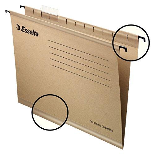 Suspension Files Esselte - Esselte 93290–Pack of 50Suspension File Reinforced with Transparent Plastic Visor, A4, Natural Colour