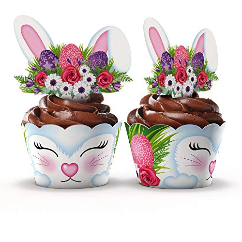 Cute Animal Cupcake Wrappers and Toppers by Funky Fledgling- 24 Sets (Woodland Bunny) -