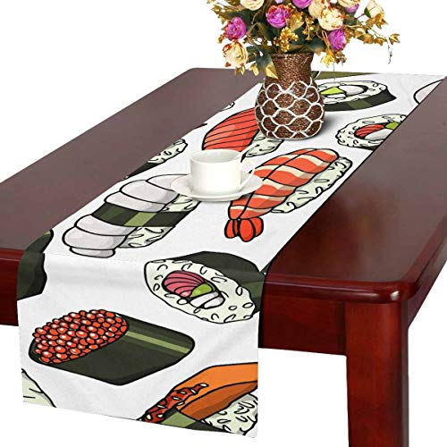 INTERESTPRINT Table Runner Dresser Cover Runner Wedding Party Decorations Beautiful Sushi Food 16 by 72 -