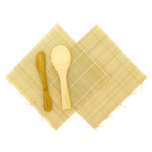 BambooMN Sushi Making Kit 2x Natural Bamboo Rolling Mats, 1x Rice Paddle, 1x Spreader | 100% Bamboo Mats and Utensils