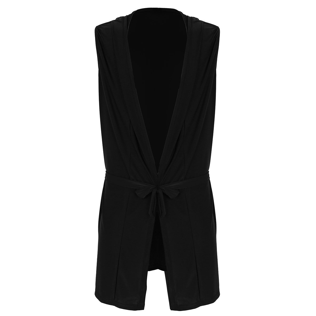 YiZYiF Men's Kimono Robe Sleeveless Hooded Sleepwear Pajamas with Waist Belt Black Medium