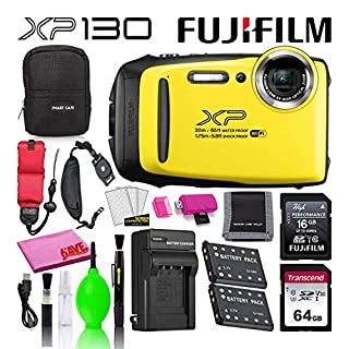 Fujifilm FinePix XP130 Waterproof Digital Camera (Yellow) Advanced Accessory Bundle -Includes- 64GB SD Card + 16GB SD Card + Camera Case + Extra Battery + Battery Charger + Floating Strap + More