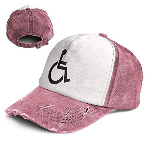 Fashion Vintage Hat Crap Handicap Wheelchair Adjustable Dad Hat Baseball Cowboy Cap Dark Red ()