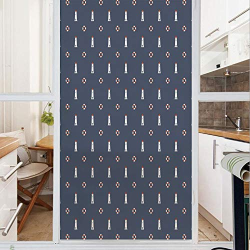 Decorative Window Film,No Glue Frosted Privacy Film,Stained Glass Door Film,Nautical Pattern with Life Buoys and Marine Architecture Navigation Decorative,for Home & Office,23.6In. by 59In Dark Blue W