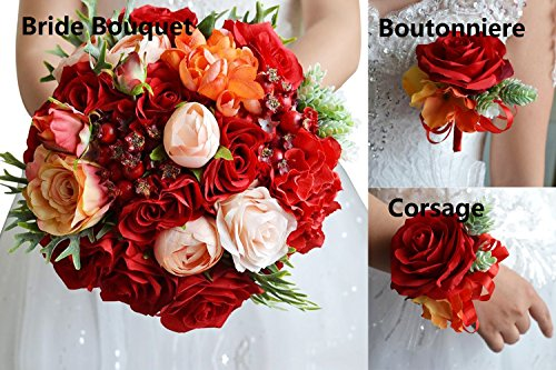 Abbie Home Wedding Flower Set - Red Rose Champagne Blush Peony Bouquet for Bride, 2 Set of Bridesmaid Wrist Corsage and Boutonniere Brooch Pin Christmas Corsages And Boutonnieres