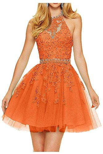 Promkleider Cocktailkleider La Mini Kurz Orange Spitze Marie Partykleider Neckholder Anmutig Braut Damen Abendkleider waHUOq