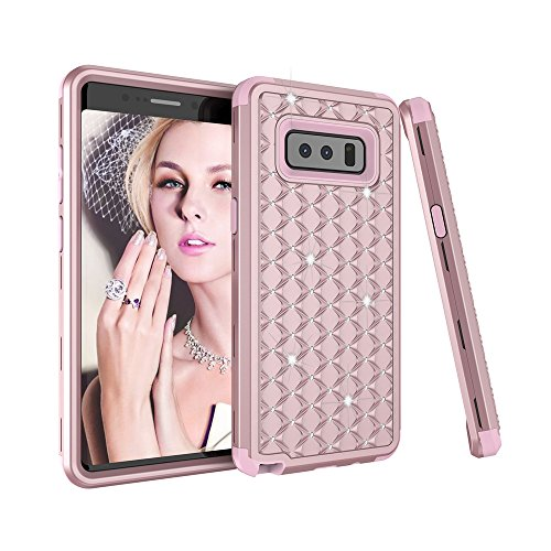 Galaxy Note 8 Case, SUMOON 3 in 1 [Studded Rhinestone][Full-Body Protective] [Shockproof] Hard PC+ Soft Silicon Rubber Armor Defender Protective Case Cover for Samsung Galaxy Note 8 2017 (Rosegold)