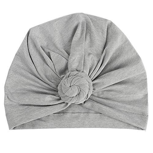 (Tiean Fashion Women Warm Cotton India Ski Hat Boho Braided Turban Headdress Cap (Gray))