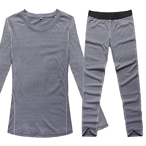 Liveinu Women's Activewear 2-Piece Set Fitted Top and Bottom Grey XL