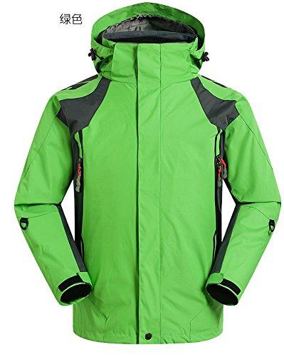 DYF Manteau Hommes Veste de Ski Bas Fermeture éclair Manches Longues Chapeau Chaud épaissi,vert,XL