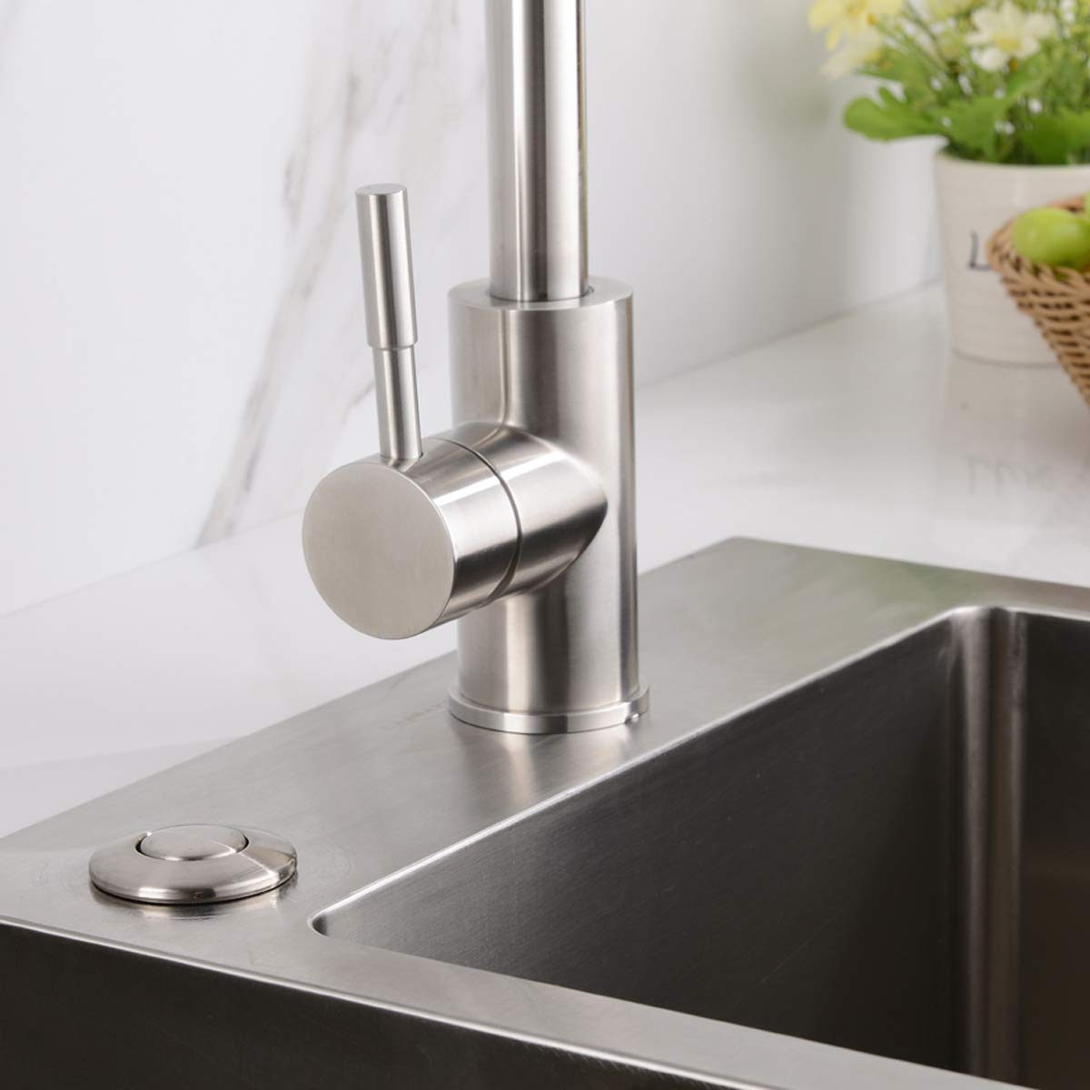 BESTILL Garbage Disposal Sink Top Air Switch Kit with Single Outlet, Brushed Nickel by BESTILL (Image #2)