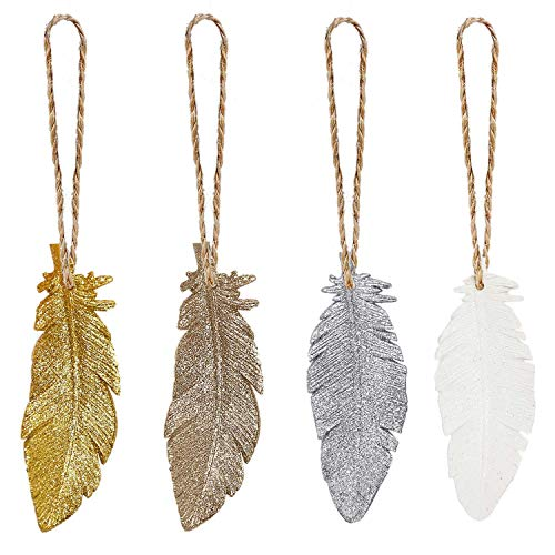 Feather Christmas Tree Ornaments 2018 Mini Rustic Hanging Ornament Country Wall Decor Gold Silver White Champagne, Set of 4 (4'')