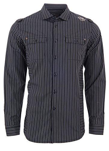 7 Diamonds Men's Dress Shirt Long Sleeve Navy Blue Stripe Embroidered Stitching (M)