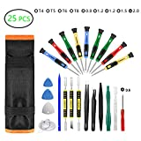 25pcs Repair Tool Kit, GangZhiBao Precision Screwdriver Set Magnetic Professional for Fix Cell Phone,iphone,Computer,PC,Tablet,iPad,Watch,PS4 - Replace Screen Battery Camera Pry Open Small Electronics