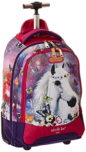 Backpack Nicole (Nicole Lee Leona 21 Inch Rolling Backpack with Laptop Compartment, Unicorn, One Size)