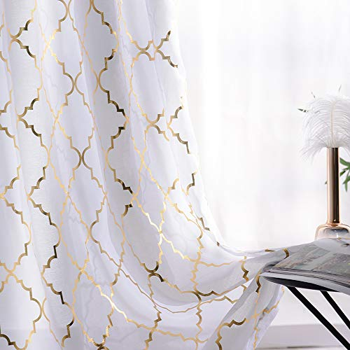 - YJ YANJUN Airy Metallic Gold and White Voile Vurtains 63 inch Curtains Sheer for Living Room Golden Moroccan Modern Tile Lattice Design 2 Pieces, 52x63