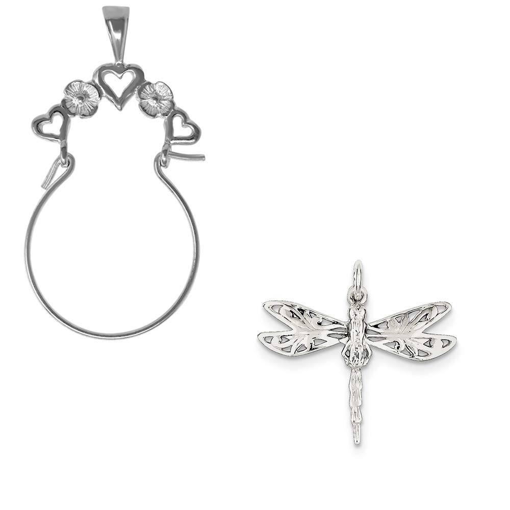Mireval Sterling Silver Dragonfly Charm on an Optional Charm Holder