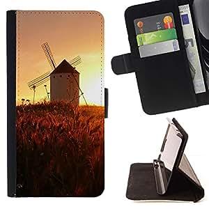 For HTC One M7 Case , Sunset Beautiful Nature 45- la tarjeta de Crédito Slots PU Funda de cuero Monedero caso cubierta de piel