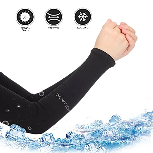 Uv Protection Cooling Arm Sleeves, Kuty Sport Arm Sleeves Cover for Women&Men, Perfect for Cycling, Driving, Running, Basketball, Football & Outdoor Activities. (black, Common)