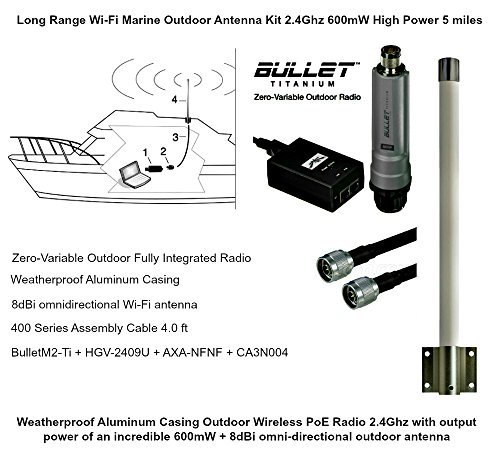 Long Range Wi-Fi Marine Outdoor Antenna Kit 2.4Ghz 600mW High Power 5 miles by Ubiquiti Networks