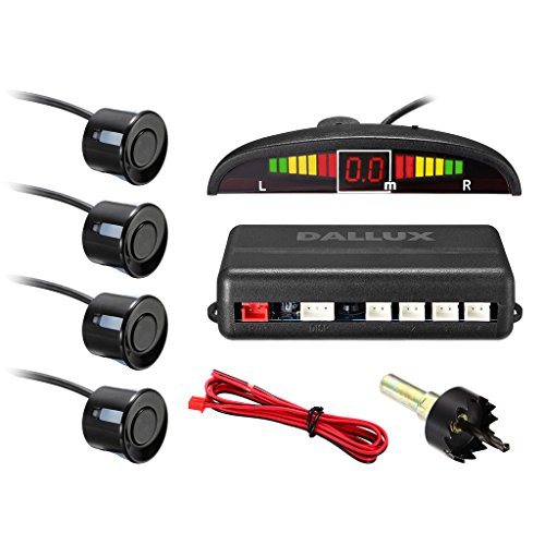 LED Display parking sensor,Car Reverse Backup Radar System,LED Display+Buzzer Alert+4 Black Color parking sensors for Universal Auto Vehicle
