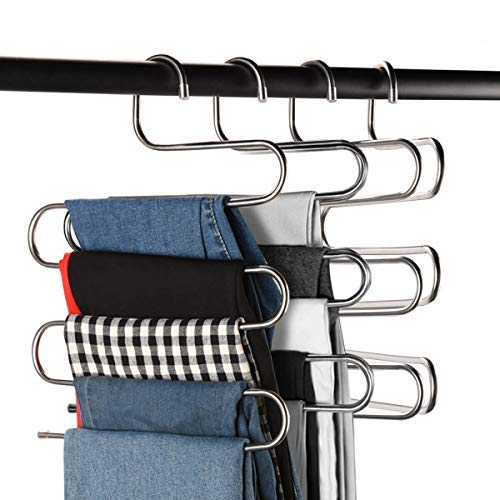 CEISPOB Multi-Purpose Pants Hangers, S-Type 5 Layers Stainless Steel Clothes Hangers Storage Pant Rack Closet Space Saver for Trousers Jeans Towels Scarf Tie (4)