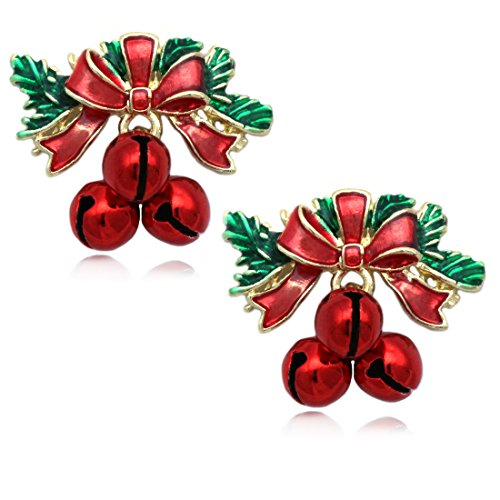 cocojewelry Christmas Red Bow Jingle Bell Post Stud Earrings Jewelry (Red Bell)
